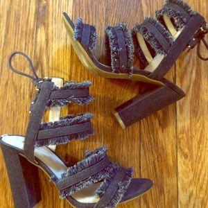 Guess Evira Denim Ankle Tie Block Heel Sandals